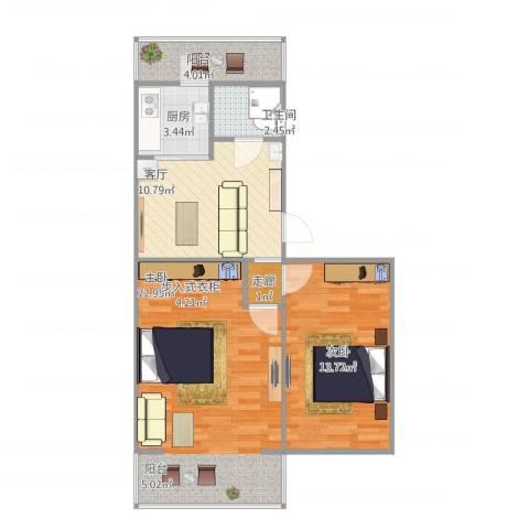 南顶村2室1厅1卫1厨79.00㎡户型图