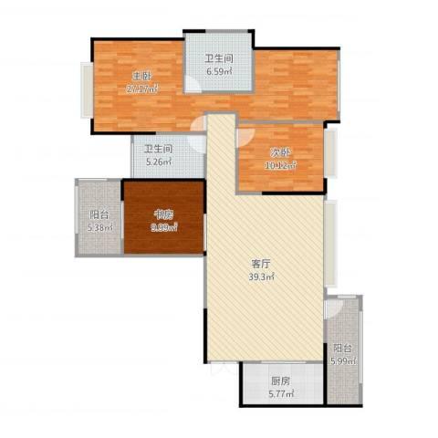 建发中央鹭洲3室1厅2卫1厨153.00㎡户型图