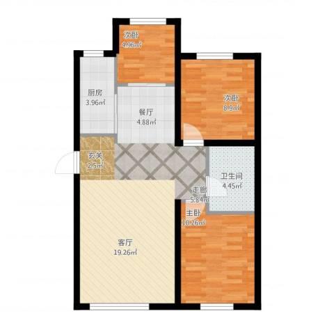 江城文苑3室1厅1卫1厨89.00㎡户型图