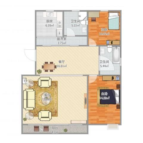 由由新邸2室3厅2卫1厨130.00㎡户型图