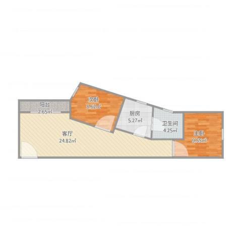 金沙新城2室1厅1卫1厨75.00㎡户型图