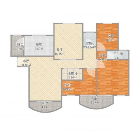 伯爵大地3室2厅2卫1厨163.00㎡户型图