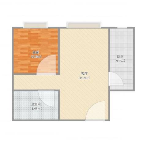 海棠公社1室1厅1卫1厨88.00㎡户型图