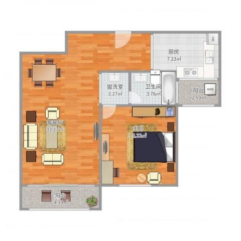 古北御庭1室2厅1卫1厨92.00㎡户型图