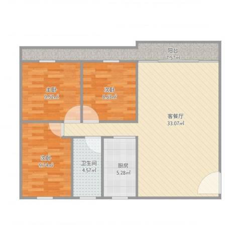 鸿日居3室1厅1卫1厨106.00㎡户型图