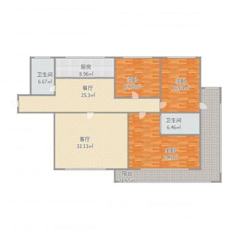 红星海艺墅3室2厅2卫1厨208.00㎡户型图