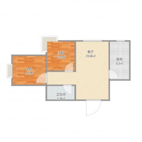 海棠公社2室1厅1卫1厨60.00㎡户型图