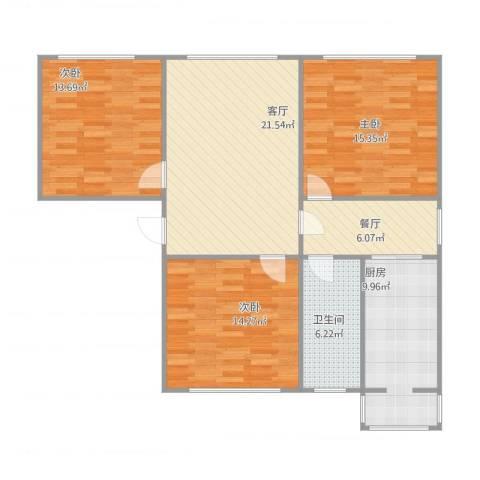 圣雪良园3室2厅1卫1厨117.00㎡户型图