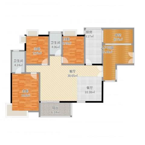 金域中央天玺3室2厅3卫1厨161.00㎡户型图