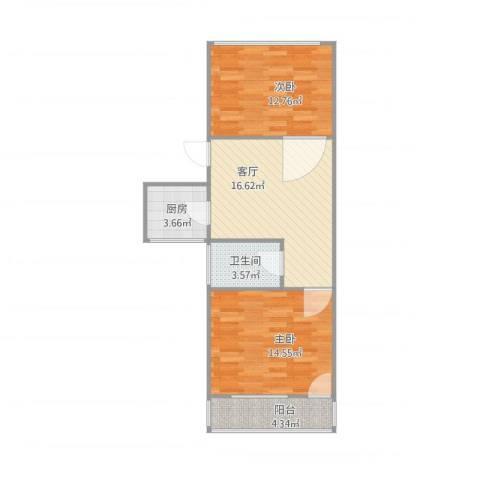 东木樨园2室1厅1卫1厨75.00㎡户型图