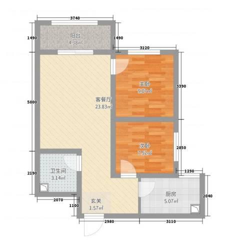 三秀公馆2室1厅1卫1厨78.00㎡户型图