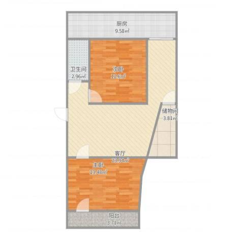 长盛小区2室1厅1卫1厨95.00㎡户型图