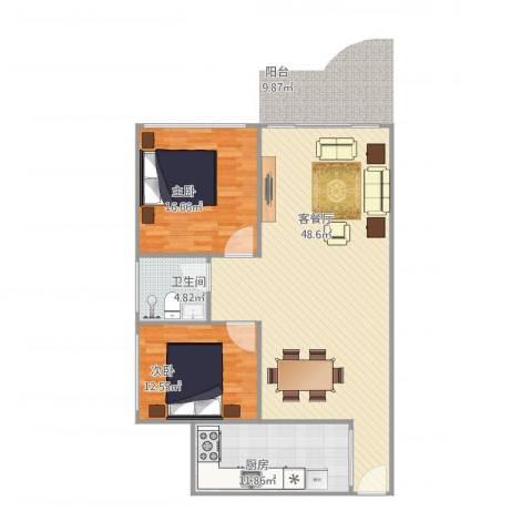 东明花园2室1厅1卫1厨125.00㎡户型图