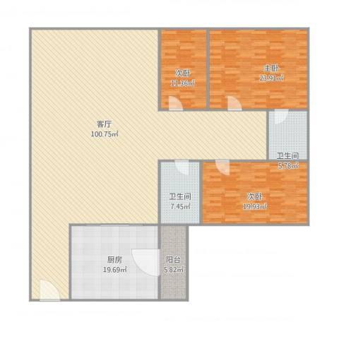 宏兴楼3室1厅2卫1厨255.00㎡户型图