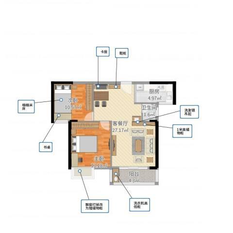 世纪星城2室1厅1卫1厨87.00㎡户型图