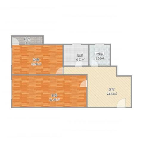 华远东路2室1厅1卫1厨121.00㎡户型图