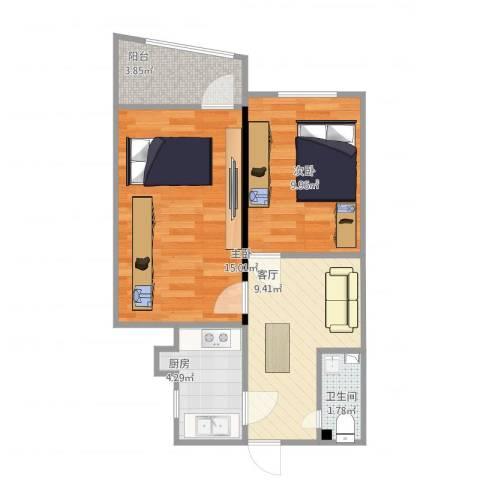 东方东路2室1厅1卫1厨61.00㎡户型图