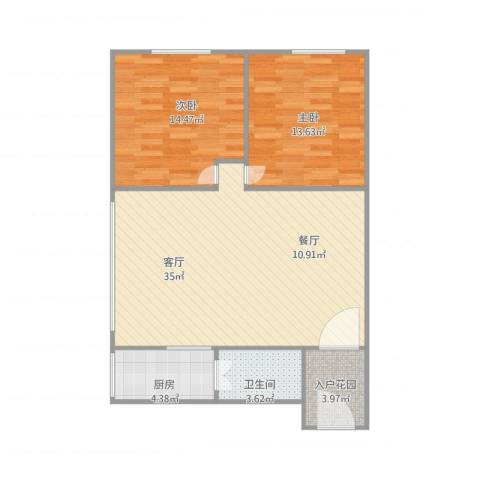 名花商业城2座1201房2室1厅1卫1厨100.00㎡户型图
