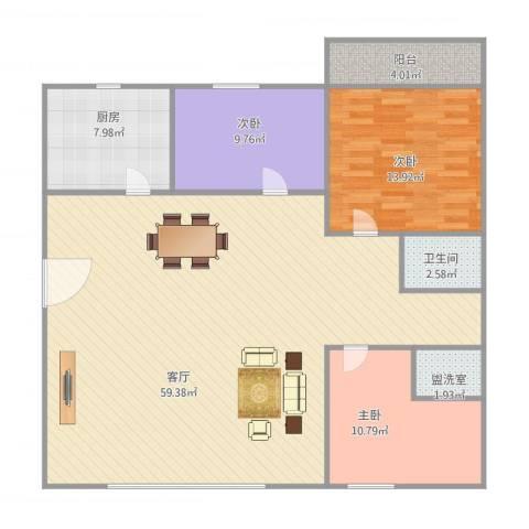 金秋花园3室2厅1卫1厨147.00㎡户型图
