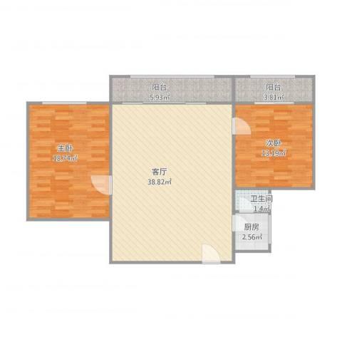 元岗公安宿舍2室1厅1卫1厨112.00㎡户型图