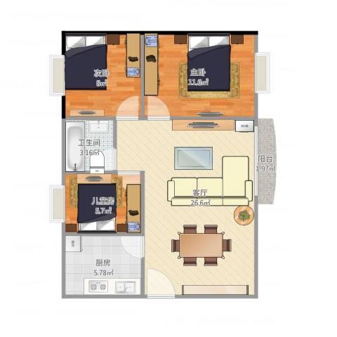 金沙・山海名门3室1厅1卫1厨82.00㎡户型图