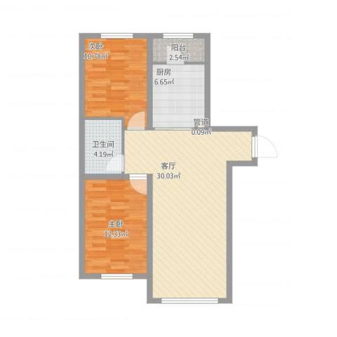 明光水岸2室1厅1卫1厨94.00㎡户型图