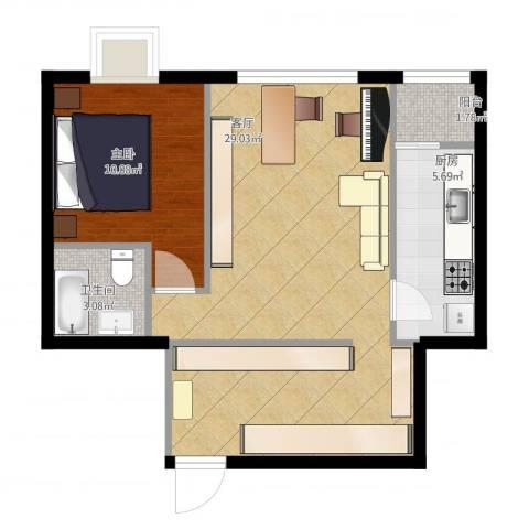 富力城D区1室1厅1卫1厨70.00㎡户型图