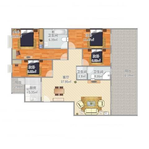 风华苑4室1厅3卫1厨180.00㎡户型图