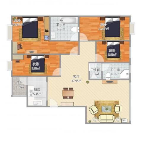 风华苑4室1厅3卫1厨139.00㎡户型图
