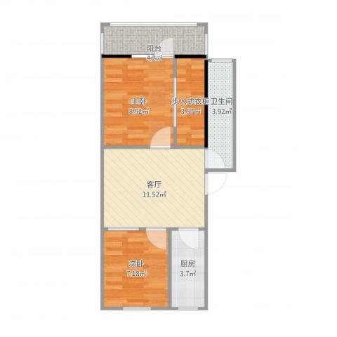 西四环南路30号院2室1厅1卫1厨57.00㎡户型图