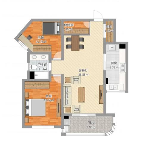 上海莘城2室1厅2卫1厨131.00㎡户型图