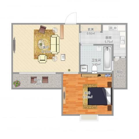 丽泽菊清苑1室1厅1卫1厨73.00㎡户型图