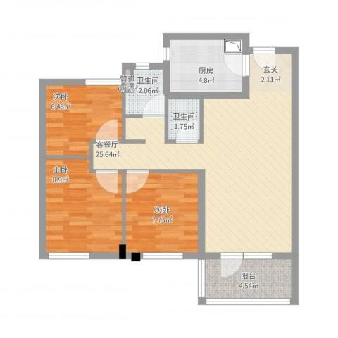 万科城花�苑3室1厅3卫1厨90.00㎡户型图