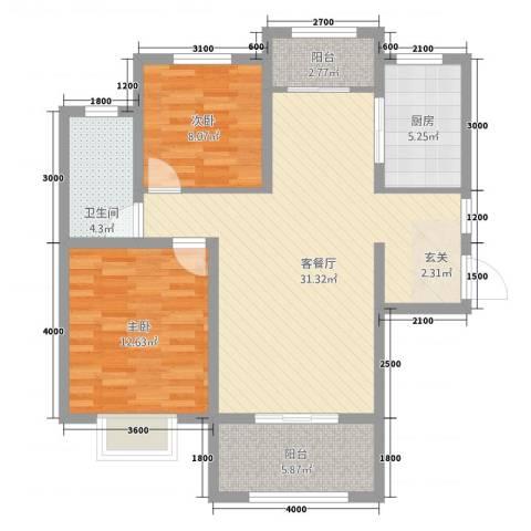 天地源●九悦香都2室1厅1卫1厨102.00㎡户型图