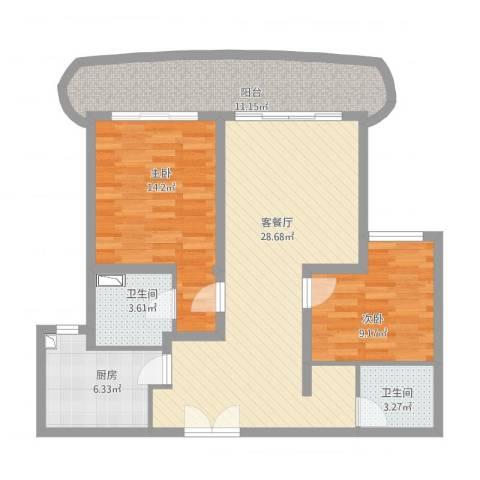 古北国际花园2室1厅2卫1厨111.00㎡户型图