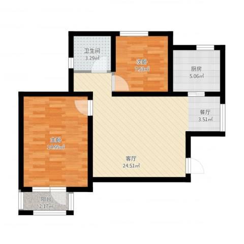 新梅江雅境新枫尚2室1厅1卫1厨83.00㎡户型图