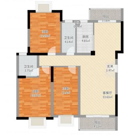 万科松山湖1号3室1厅2卫1厨131.00㎡户型图