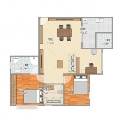 跑马地花园2室1厅2卫1厨98.00㎡户型图