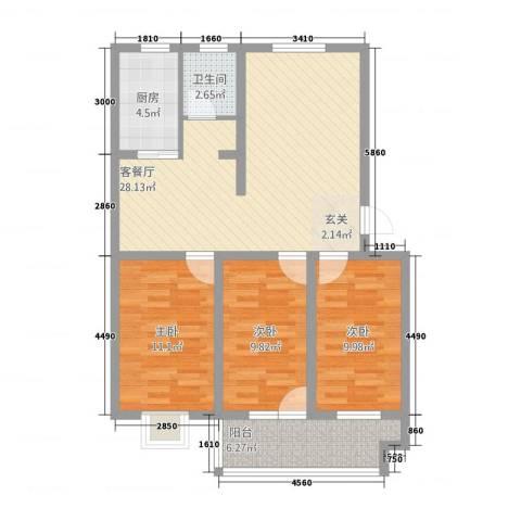 柳青河花园3室1厅1卫1厨125.00㎡户型图