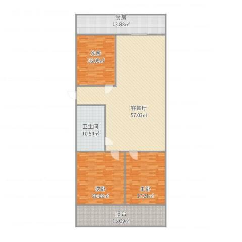 南全福小区3室1厅1卫1厨199.00㎡户型图