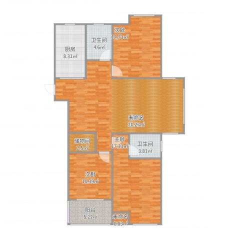 东台海陵首府3室1厅2卫1厨142.00㎡户型图