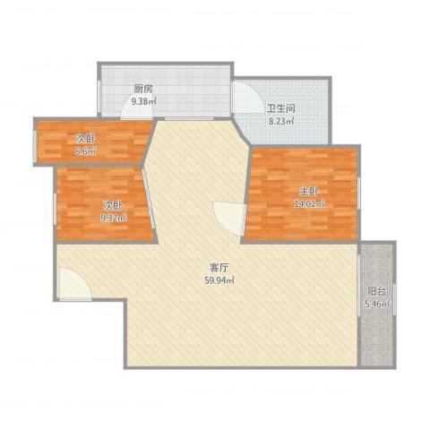 红棉苑3室1厅1卫1厨150.00㎡户型图