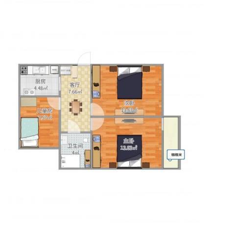 公主坟海军大院3室1厅1卫1厨73.00㎡户型图