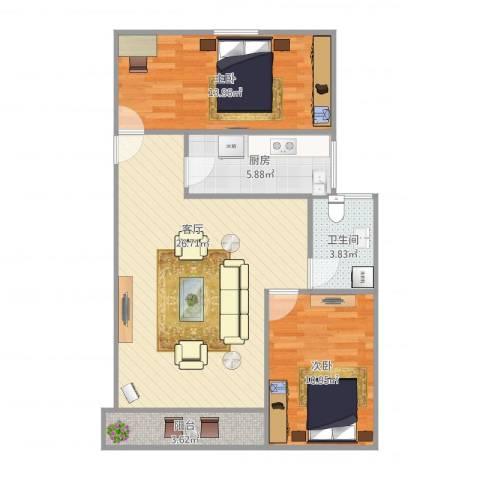 延吉东路1312室1厅1卫1厨88.00㎡户型图
