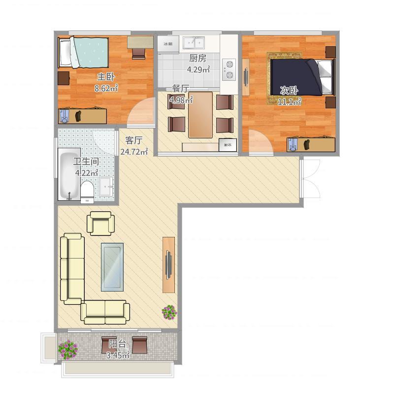 聚金雅园95平方9号楼2单元两室两厅