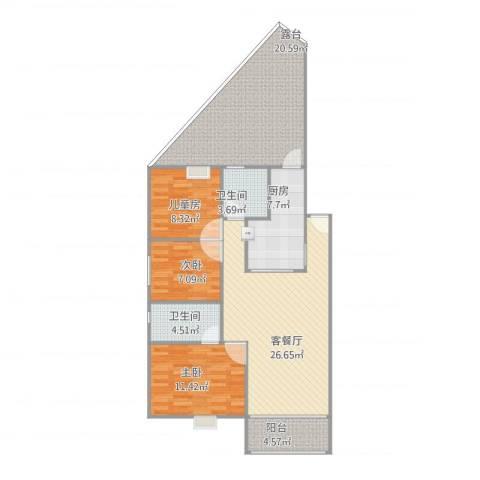 君怡花园3室1厅2卫1厨94.55㎡户型图