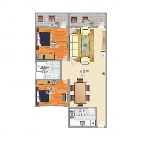广州_万寿路蟠龙花园683012室1厅1卫1厨70.00㎡户型图