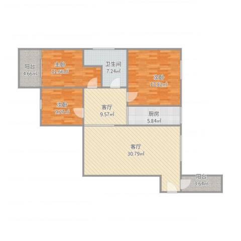 荟丽精英城13063室2厅1卫1厨135.00㎡户型图