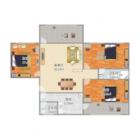 商住城3室1厅2卫1厨185.00㎡户型图
