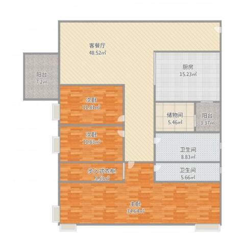 星河名居3室1厅2卫1厨210.00㎡户型图